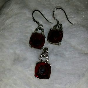 Sterlig silver garnet 3 piece jewelry set